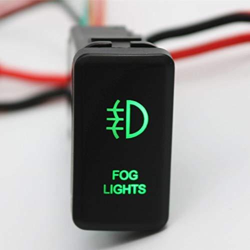 HERCHR Feux antibrouillard 12 V Bouton Poussoir LED Verte avec connecteur Fil pour Landcruiser