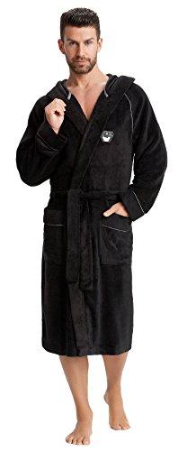LEVERIE hochwertiger und kuschelweicher Bademantel / Saunamantel für Herren mit Kapuze und praktischen Taschen Schwarz