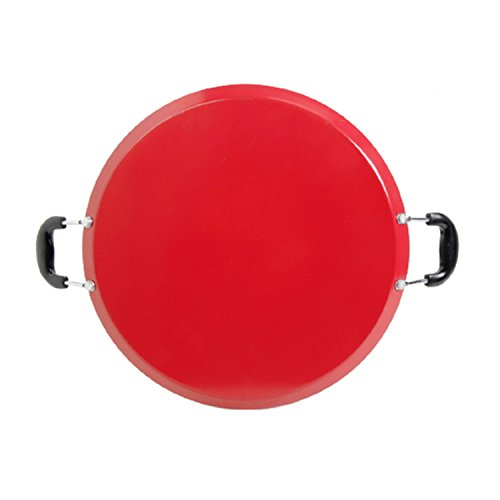 Oster Cocina Zadora Comal Round Carbon Steel with Bakelite Handles, Red, 14""