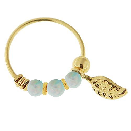 9K Solid Gelb Gold Triple White Opal Bead mit Blatt 22 Gauge Hoop Nase Piercing Ring Schmuck