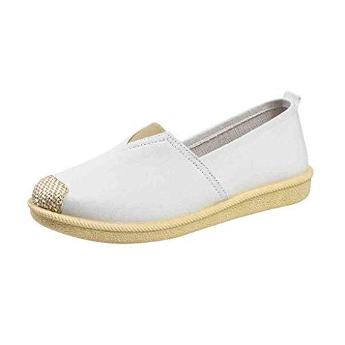 NANIH Home Womens Canvas Vintage Faule Turnschuhe Schuhe Damen Slip-on Flache Bootsschuhe Lässige Atmungsaktive Schuhe (Color : White, Size : 4.5 UK) Canvas Womens Schuhe