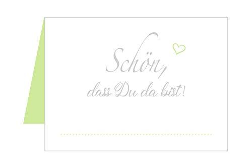 Edition Seidel Set 50 Premium Tischkarten Tischkärtchen Platzkarten Namenskarten Hochzeit - Geburtstag - Taufe - Kommunion - Konfirmation - Firmung - Jugendweihe - Goldene Hochzeit (Hellgrün)