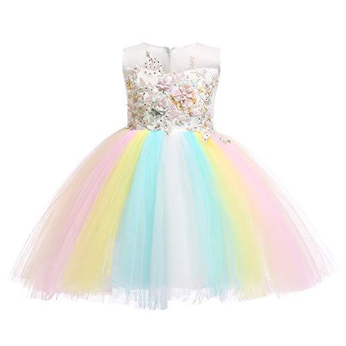 OBEEII Mädchen Einhorn Kostüm Weihnachten Allerheilige Karneval Geburtstag Geschenk Baby Kinder Prinzessin Kleid Weiß 4-5 Jahre (Weißes Kleid Weihnachten Kostüm)