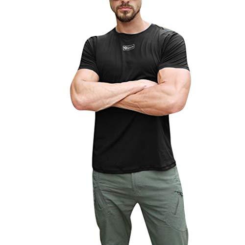 Eaylis-Herren tops Einfarbige, Formgebende NäHte, Schnell Trocknende, KurzäRmelige Fitnesskleidung Mit Rundem Halsausschnitt