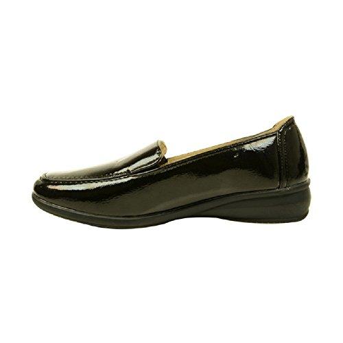 Femmes Dr Keller SORTIE Compensées à talon À Enfiler Chaussures Décontractées Confortable Violet - Noir laqué