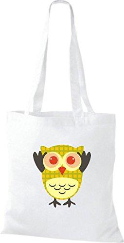 Retro Karos Jute Farbe ShirtInStyle diverse Owl weiss Bunte streifen natur Stoffbeutel Punkte niedliche Tragetasche Eule mit 4wPAwxHf