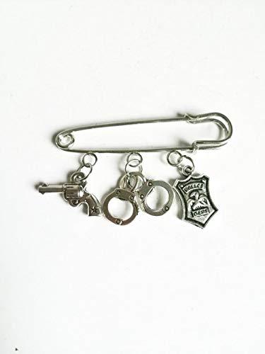 ZWLZQ Broschen Brosche Mädchen Junge Mode Boutonniere Abzeichen Handschellen Pistole Nadel Nette Polizei Anhänger Anhänger Nadel