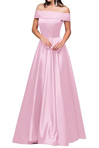 Ivydressing Damen Modern U-Ausschnitt Satin A-Linie Lang Partykleid Promkleid Festkleid Abendkleid Rosa