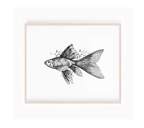 Schwarzweiß-Goldfisch-Print, Vintage Sea Print, Goldfisch-Poster, Vintage Fisch Print, Goldfisch-Kunst, Vintage Nautik, Fisch Skizze Zeichnung