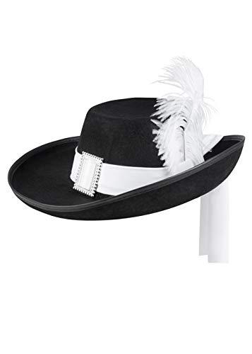 Magic Box Schwarzer Musketier-Hut in Erwachsenengröße mit weißer Feder