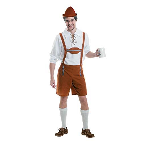 Emmas Wardrobe Männer Oktober Kostüm - Enthält weißes Hemd mit Lederhosen - Festliche Deutsch Outfit für Halloween, Partys oder Themenveranstaltungen - Made UK Größen (Men: L/XL, - Männer Deutsches Lederhosen Kostüm