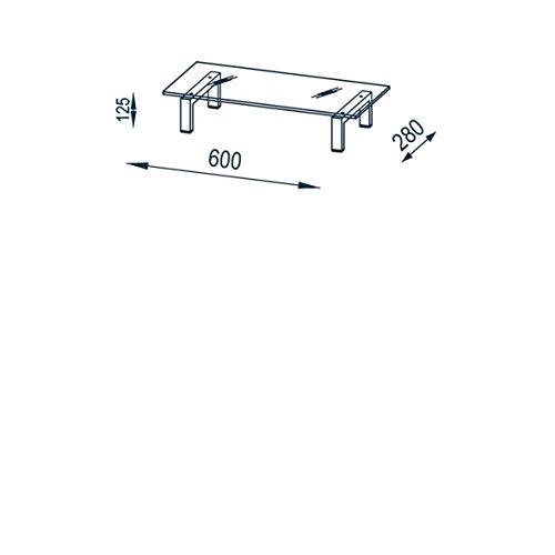 Maja 16029746 TV-Board, 600 x 125 x 280 mm, Metall weiß / Weißglas