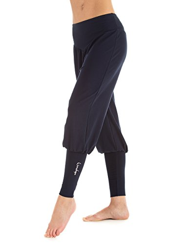 Winshape Damen Fitness Freizeit Sport Yoga Pilates Trainings und Manschettenhose Trainingshose, Night Blue, L
