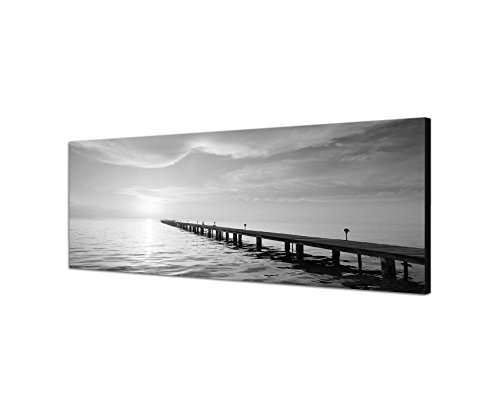 Keilrahmenbild Panoramabild SCHWARZ / WEISS 150x50cm Meer Strand Holzsteg Sonnenuntergang