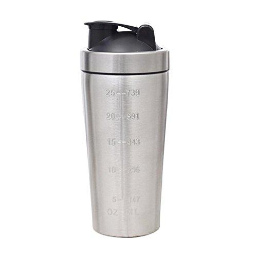 Fashion ER Edelstahl Shaker Flasche Double Scale 25 Unzen Milchshake Protein Powder Drink Cup für Sport Fitness
