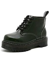 Las Mujeres Plataforma Botines de Charol Zapatos de Cuero otoño Invierno Encaje hasta Gladiador Zapatos Tacones