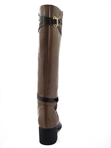 OSVALDO PERICOLI Stivale Donna, Pelle con Accessori in Metallo, Tacco 5 cm. e Suola Gomma, Chiusura Cerniera lampo-A138 Taupe