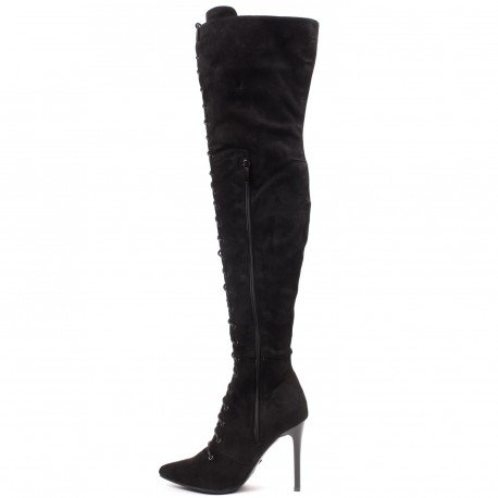Ideal Shoes - Cuissardes effet daim à lacets Tanaïs Noir