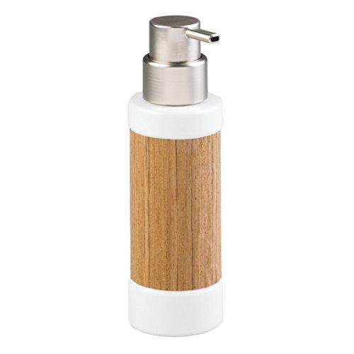 mDesign Dispensador de jabón recargable - elegante Dosificador de jabón de cerámica de alta calidad, madera y acero pulido - con 340 ml de capacidad - para cocina y baño