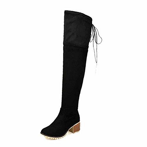 AllhqFashion Damen Ziehen auf Mittler Absatz Rein Hoch-Spitze Stiefel mit Beschlagene Strass, Weinrot, 35