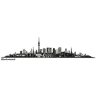 Wandkings Skyline - Deine Stadt wählbar - Dortmund (Design B) groß - 200 x 28,5 cm - Wandaufkleber Wandsticker Wandtattoo