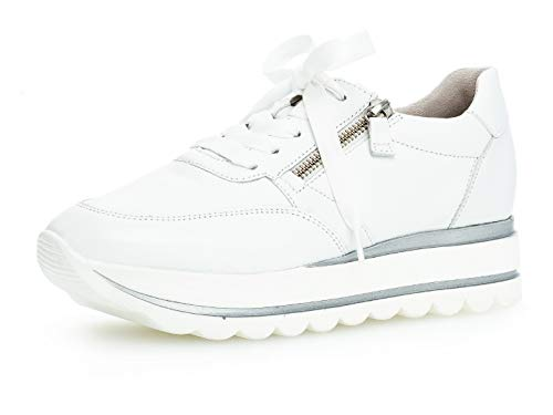 Gabor Damen Low-Top Sneaker 24.410.21, Frauen Halbschuh,Schnürschuh,Strassenschuh,Business,Freizeit,Weiss,40 EU / 6.5 UK