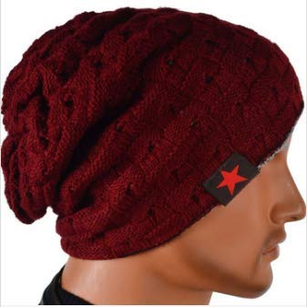 frauen motorradkombi Wooya Unisex Winter Warmer Schädel Strick Beanie Cap Dual Wearable Men Frauen Reiten Ski Hat-Rot
