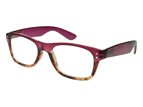 GL2156 Chester Purple Tortoiseshell Unisex Square Shape Reading Glasses Goodlookers (+3.0) by Good Lookers