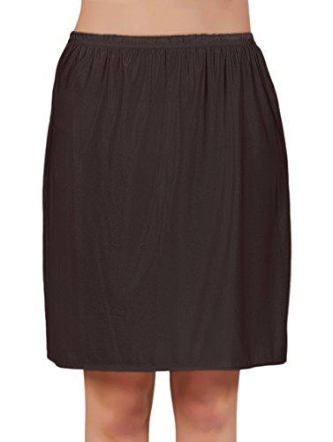 VEDATS Damen Unterrock Halbrock Unterkleid Jupon Knielang Schwarz Weiß Hautfarben S M L XL (M,...