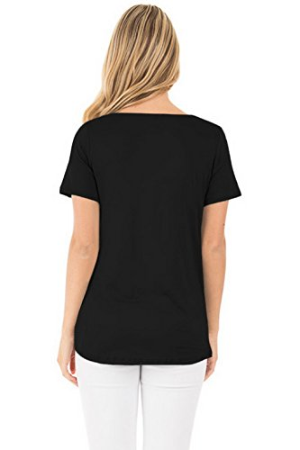 Lukis Damen Kurzarm T-Shirt mit Schnürung Oberteil Tops Bluse Schwarz