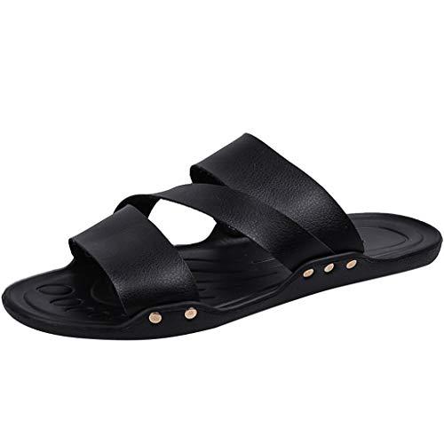 fazry Hommes Pantoufle Mode Tongs Plage Doux Bas des Chaussures Sauvage Confortable De Plein Air Chaussons(40 EU,Noir