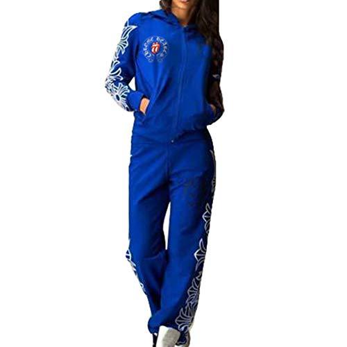Hibote Donna Tuta Sportiva Abbigliamento Sportivo Morbida Comoda Pullover a  Maniche Lunghe Pantaloni 2 Pezzi Vestiti c2856396090