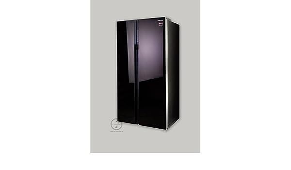 Side By Side Kühlschrank Schwarz Glasfront : Samsung rs552nrua9m side by side 538l a design glasfront aubergine