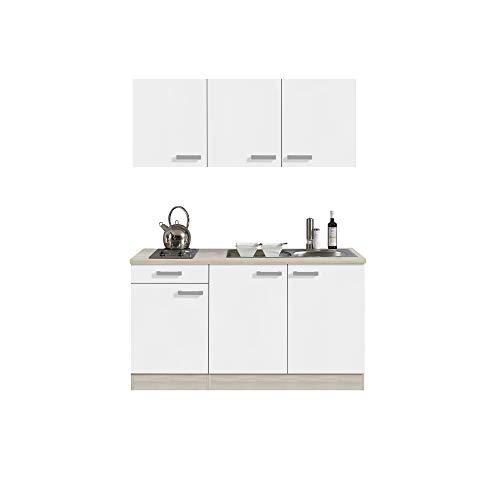 Singleküche BARCELONA   Miniküche mit Glaskeramik-Kochfeld und Spüle   Breite 150 cm   Weiß/Akazie mit Echtholzstruktur -