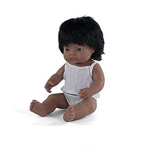 Miniland - Muñeco bebé Latinoamericana Niña de vinilo suave de 38cm con rasgos étnicos y sexuado para el aprendizaje de la diversidad con suave y agradable perfume. Presentado en caja de regalo.