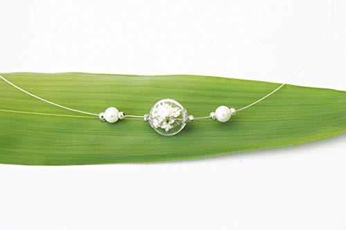 Echtes Schleierkraut Kette Brautschmuck ivory bridal jewelry Braut Hochzeit Collier weiß Perlen Blütenschmuck Blumen Blumenkette Schmuck
