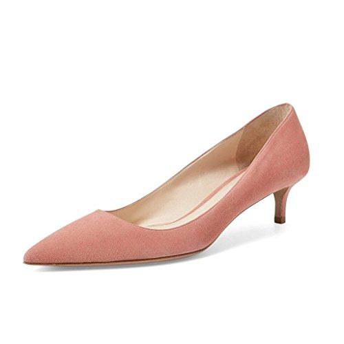 EDEFS Femme Escarpins Classique Kitten-Heel Chaussures Soiree Mariage Taille 35-45 Lightpink
