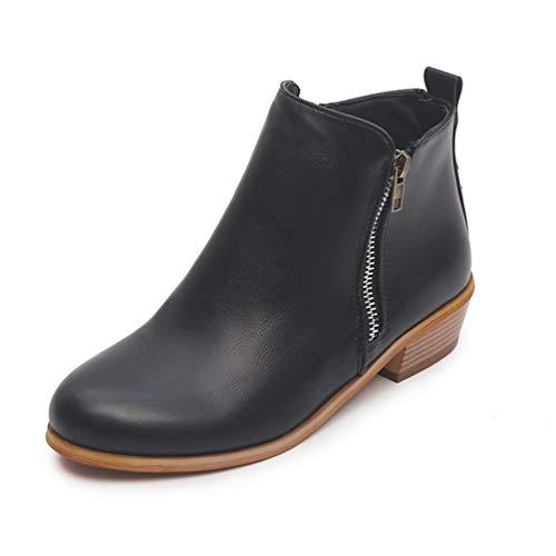 erbst-Wederd-Zipper Flock Pointed Toe Square Med Heels für Fashion-Girls ()