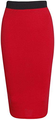 Purple Hanger - Jupe Crayon Stretch Mi Longue Taille Elastique Contrastée Coupe Moulante Couleur unie Rouge