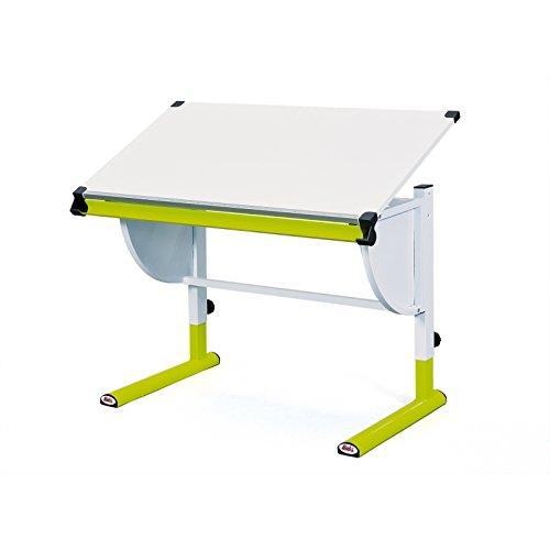 Links 51084450 Schreibtisch Kinderschreibtisch für Kinder, Holz mit Stiftablage, höhenverstellbar und neigungsverstellbar, grün