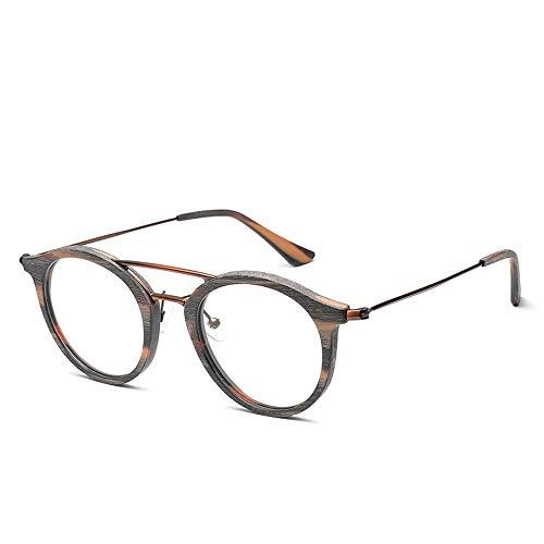 Männer Und Frauen Fashion Classic Vintage Runde Holzmaserung Brillengestell Brillengestell Für Brille (Color : Braun, Size : Kostenlos)