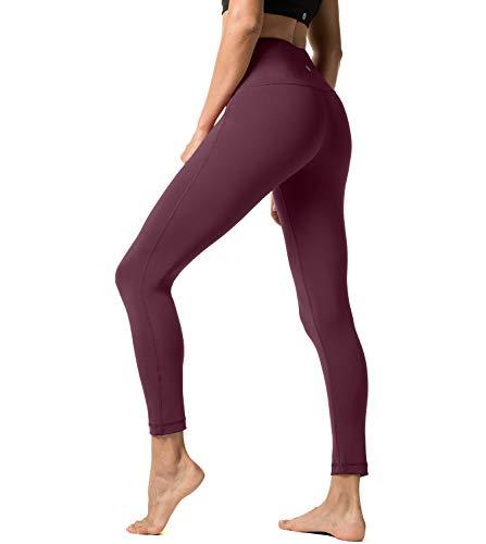 LAPASA Legging Femme Pantalon de Sport avec Poches Yoga Fitness Gym Pilates Taille Haute Gaine Large L01, 04. Bordeaux, L