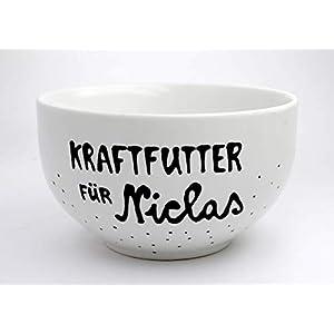 Müslischüssel, personalisiertes Geschenk mit Namen, Porzellan- Müslischale, Geschenkidee, handbeschriftete Schale, personalisierbar