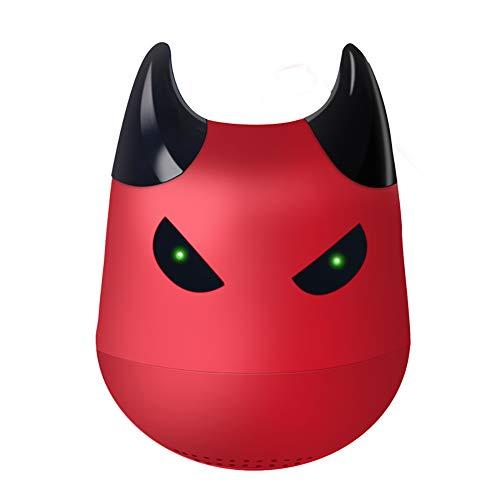 Hywot Mini Tragbarer Kleiner Teufel Drahtloser Bluetooth-Lautsprecher TWS Drahtloser Lautsprecher mit Selfie-Fernbedienungsfunktion, geeignet für Geschenk,red