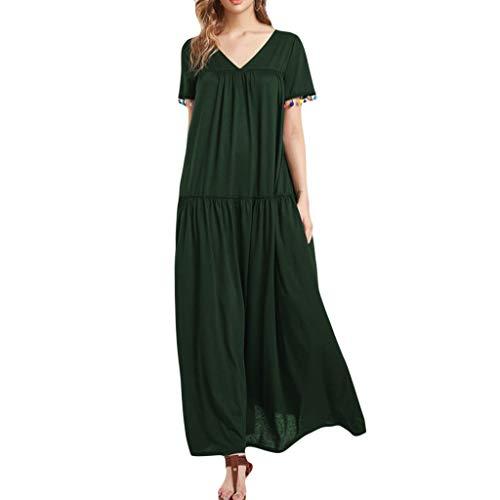 WoWer Damen BeiläUfiges Strandkleid BöHmischer Nationalstil Sommerkleid Tank Kleid Ausgestelltes TräGerkleid Knielang Normallackkurzschluss-HüLsen-Falte Plus GrößEn-Langes Kleid