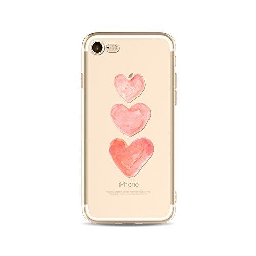 Coque iPhone 7 Plus Housse étui-Case Transparent Liquid Crystal en TPU Silicone Clair,Protection Ultra Mince Premium,Coque Prime pour iPhone 7 Plus-Coeur-style 6 1