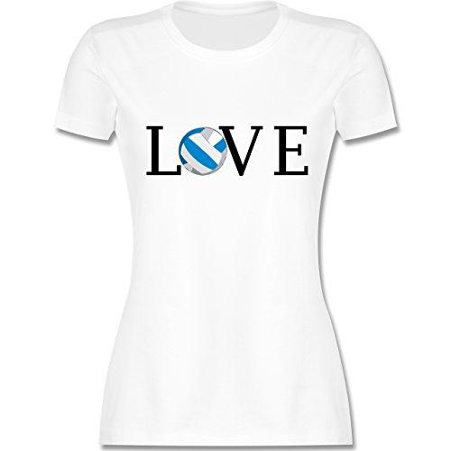 Volleyball - Volleyball Liebe Love - tailliertes Premium T-Shirt mit Rundhalsausschnitt für Damen Weiß