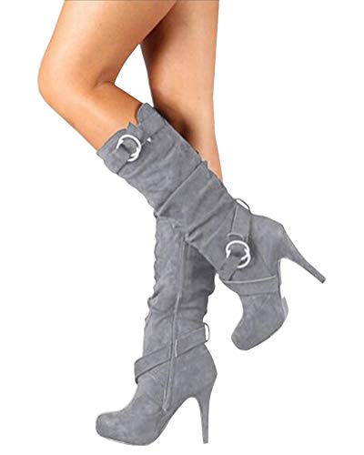 Minetom Mujer Botas Largas De Gamuza Casual Tacones Aguja Altos Zapatos Otoño Invierno Retro Botas Altas Calentar Moda Gris 39 EU
