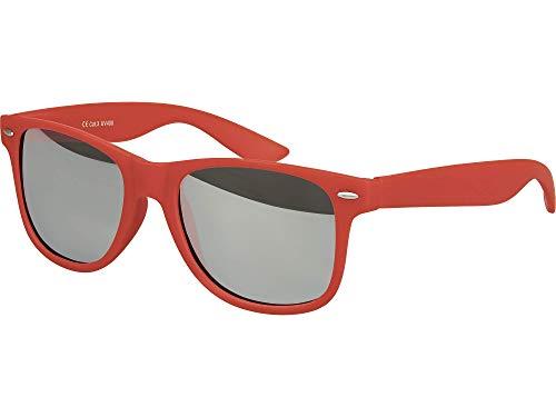 Damen Pilot Kostüm - Balinco Hochwertige Nerd Sonnenbrille Rubber im Retro Stil Vintage Unisex Brille mit Federscharnier - 96 verschiedene Farben/Modelle wählbar (Dunkelrot - Silber verspiegelt)