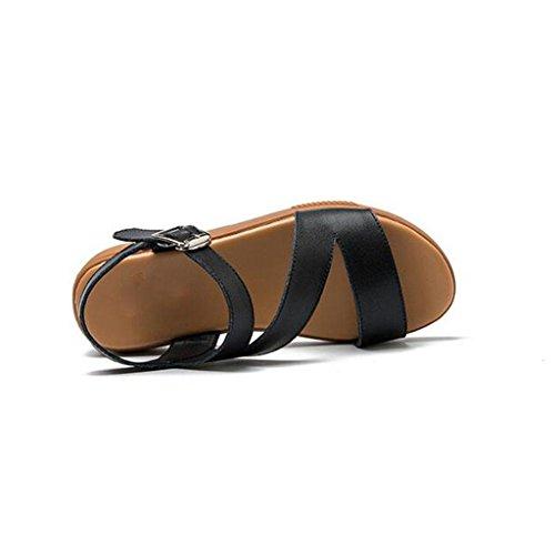 W&LM Donne esposte a piede con scarpe casual a sandali piane a forma di V Black